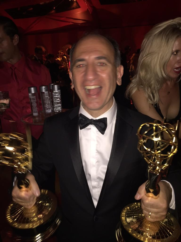 Armando Iannucci celebrates his Emmy wins.