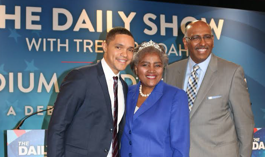 New Hampshire Primary 2016, Trevor Noah, Donna Brazile, Michael Steele. Photo Courtesy of Haddad Media.